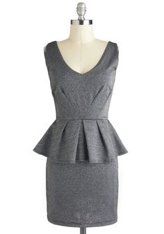 Starlit Evening Dress - Grey, Solid, Peplum, Sleeveless, Short, Silver, Pleats, Party sale!
