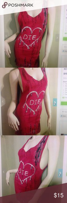 """DIY red die heart dress M/L Red ribbed wife beater dress. Fits m-l. Chest measures 38-40""""across so u will get side boob. Arm holes measure 11.5"""" and dress is 30"""" long. Front bleached blood drip heard design. Bleach splattered all over. Fabric dye added, fabric paint added and liquid latex for texture Fruit of the Loom Dresses Mini"""