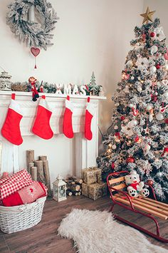 5311 Red Stockings Christmas Backdrop