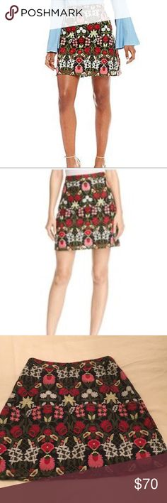 NWT Lucy Paris embroidered mini skirt Brand new, never worn. Amazing when paired with chambray top and Sbicca platforms (also listed) love this one  size M fits like a 4/6 Anthropologie Skirts Mini
