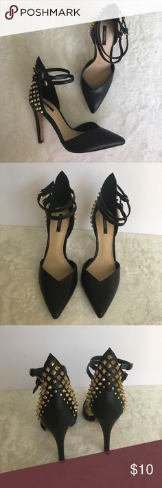 """Forever21 studded heels Forever21 black heels with gold studded details on the back of the shoes. 2 strap fastening. Pointed covered toe. Smooth faux leather upper. Gold details are tarnished just a bit (see close up photo). 4"""" heel. Forever 21 Shoes Heels"""