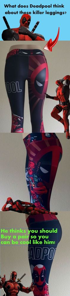 Everyone loves the superhero, Deadpool from the Marvel Comics universe! These super colorful and fun leggings fit great, last forever and will make your boyfriend jealous!