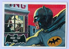 Topps issued several sets of Batman trading cards in My personal collection includes a number of cards from the Series 1 set. Batman Cartoon, Batman 1966, Batman Art, Batman And Superman, Batman Robin, Comic Book Covers, Comic Books Art, Comic Art, Batman Puzzle