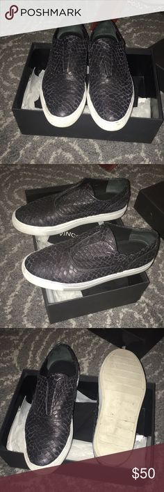 Vince leather python sneakers Vince leather python sneakers. Black. Super comfy. Comes with dust bag and box (if you want) Vince Shoes Sneakers