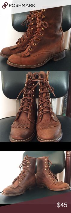 Vintage Laredo Brown Boots Vintage Laredo brown boots in excellent condition. Size 6, apologies my fellow wide foot gals, these are better suited for our slim foot sisters Laredo Shoes Lace Up Boots
