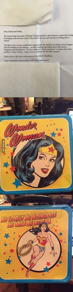 """This girl's Wonder Woman lunchbox """"features a violent super hero that does not comply with the school's dress code""""."""