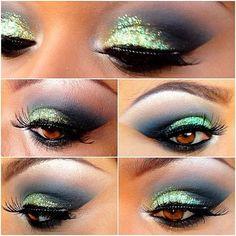 Green glitter & black shadow