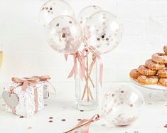 Rose gold confetti mini balloon cake topper with ribbon favour party wedding baby shower birthday Tulle Balloons, Qualatex Balloons, Balloon Ribbon, Clear Balloons, Mini Balloons, Rose Gold Balloons, Balloon Cake, Custom Balloons, Balloon Bouquet