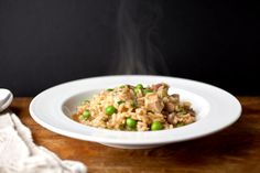 Risotto with turkey, mushrooms and peas recipe (Photo: Andrew Scrivani for The New York Times)