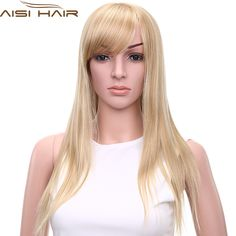 "11"" Top Women Sexy Long Straight Hair Oblique Bangs Blonde Cute Wig Fashion Heat Resistant Synthetic Fiber African American Wigs"