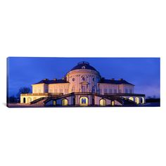 East Urban Home Panoramic Castle Solitude Lit up at Night Stuttgart, Baden-Wurttemberg, Germany Photographic Print on Canvas Size: