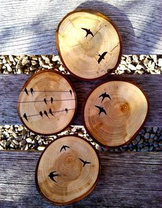 Birds on a Wire Wood coasters.