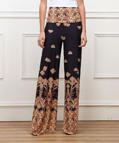 Loving this Red & Navy Lotus High-Waist Palazzo Pants on #zulily! #zulilyfinds