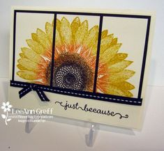 This is the first time I've used this beautiful background stamp but it sure won't be the last! We made this card at my Card Clubs this month. Isn't it lovely? We see lots of these on the side of the highways around our area. I love how they follow the sun; each and every day! We inked the Sunflower image first in Crushed Curry ink. Then we used a sponge dauber to add some Tangerine Tango to the inked...
