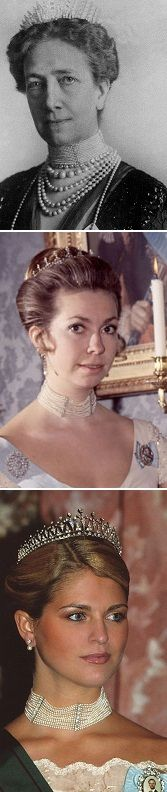 A 13-row pearl necklace from Queen Victoria of Sweden. Worn today by Princess Madeleine but Queen Silvia and Princess Christina also have worn it in the past.