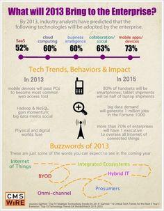 Eine hübsche Infografik, was wir im Enterprise-Umfeld 2013 in der IT erwarten dürfen. Erwartungsgemäß sind die heißen Themen wenig überraschend: Mobile, Social Media, BI, Cloud Computing und SaaS führen die Liste an.
