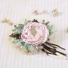 Vintage style crochet brooch pink peony pin embroidered