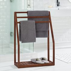Haven™ Stained Teak Floor Towel Stand in Brown
