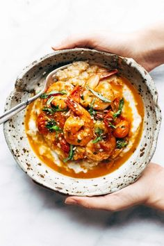 Shrimp + Grits made summertime-perfect with fresh tomatoes, fresh basil, and plenty of garlic and olive oil. Dairy free and gluten free! #dairyfree #glutenfree #dinner #easyrecipe #yum | pinchofyum.com