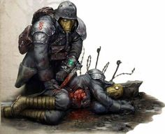 A Death Korps Quartermaster attending to a wounded comrade.