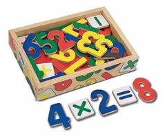 Melissa & Doug 37 Magnetic Wooden Numbers: Enough numerals to count from zero through twenty AND five math signs in a convenient wooden case. 37 colorful magnetic pieces can help children learn their numbers and solve basic math problems. Wooden Numbers, Letters And Numbers, Glenn Doman, Look At My, Wooden Storage Boxes, Toy Storage, Developmental Toys, Learning Numbers, Wooden Animals