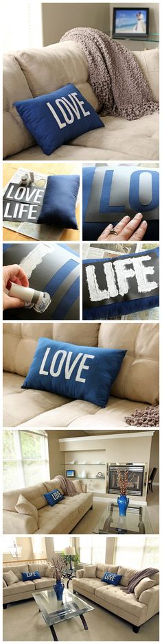 "Spruce up a boring old pillow. Simply stencil the word ""Love"" or ""Life"" on it and breathe new life into the pillow. Free .svg and .ai8 printable files included."