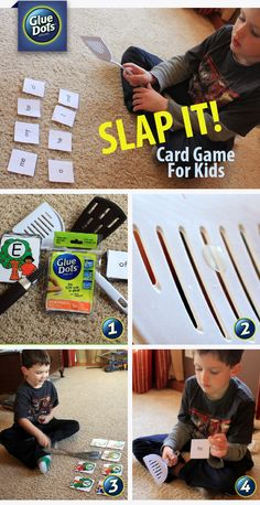 "Is the weather keeping you inside? Play the ""Slap It"" flash card game with the kids. All you need are Removable #GlueDots, a spatula and flash cards."