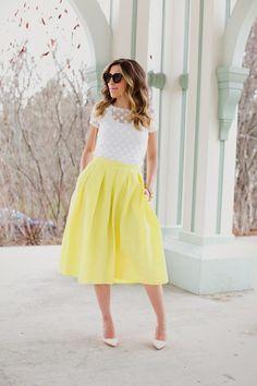 white dot top and bright aline skirt