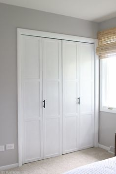 Add inexpensive lattice to bifold doors, paint them, and change the hardware for a super easy DIY idea. Love this for a bedroom or hallway. Such an easy way to update old doors and make them look much more contemporary.