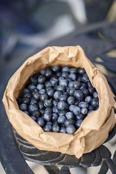 Blueberries in paper bag   Kitchen Confidante #photo #fruit