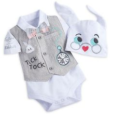 0862324c9c5 Disney Store Alice White Rabbit Baby Costume Outfit   Hat 12 18 Months