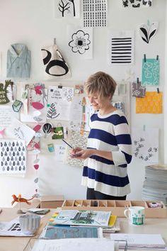 "Lotta Jansdotter in her studio shop  ""work+shop"""