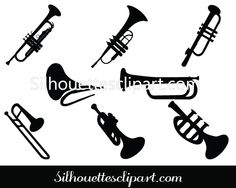 One of the best music vector clipart to do awesome music instruments graphic designs. Get this Trumpet silhouette clip art Pack, have EPS, PNG and JPEG. Music Silhouette, Silhouette Vector, Vector Design, Graphic Design, Trumpet, Diy Art, Good Music, Band, Silhouettes