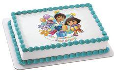 Dora the Explorer & Diego Personalized Edible Cake Image.