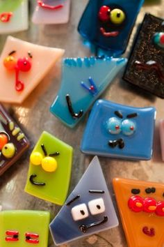 Fused Glass Face Pin