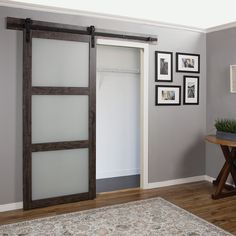 Erias Home Designs Continental Frosted Glass 1 Panel Ironage Laminate Interior Barn Door