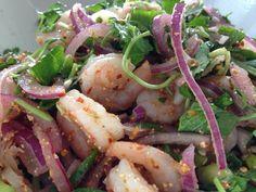Laos Shrimp Salad Tai Food Recipes, Thai Recipes, Laos Recipes, Asian Recipes, Cooking Recipes, Asian Foods, Thai Dishes, Food Dishes, Cambodian Food