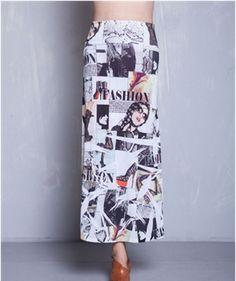 NEW Cute Trendy Junior Plus Fashion Bold  Newspaper Print Maxi Skirt 1X 2X 3X #Rainbow #Maxi