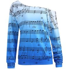 Plus Size Music Note Print Skew Neck Sweatshirt (370 CZK) ❤ liked on Polyvore featuring tops, hoodies, sweatshirts, shirts, womens plus sweatshirts, womens plus tops, women's plus size sweatshirts, plus size blue shirt and print sweatshirt