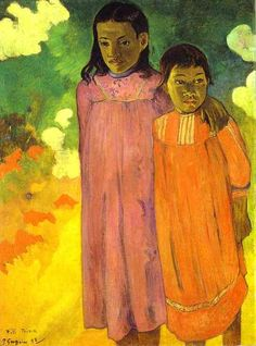 by Paul Gauguin in oil on canvas, done in . Find a fine art print of this Paul Gauguin painting. Paul Gauguin, Henri Matisse, Henri Rousseau, Kunst Online, Impressionist Artists, Two Sisters, Illustration Art, Illustrations, Arte Popular