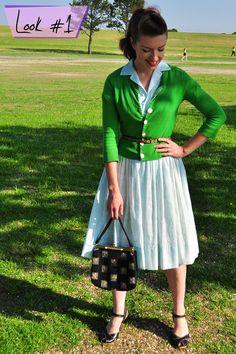 50s Shirtwaist dress + Cardigan.