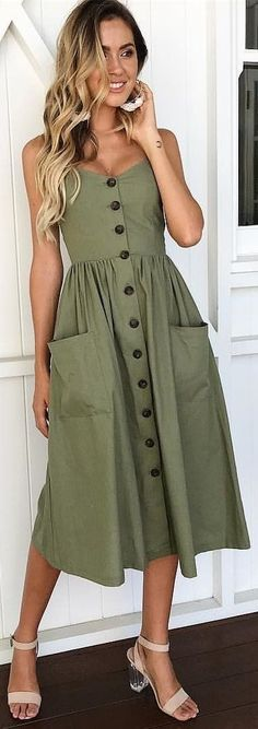Pretty casual olive dress.