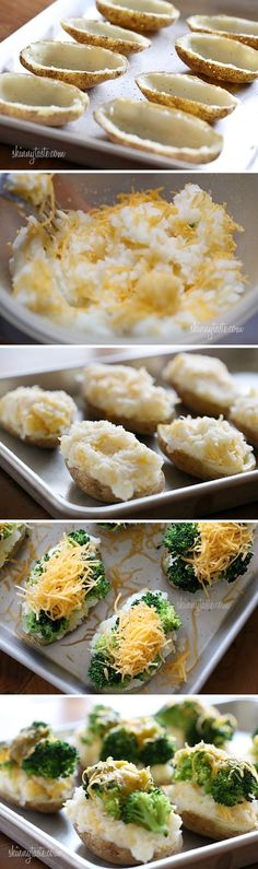 Broccoli and Cheese Twice Baked Potatoes. A mi se me a ocurrido poner en lugar de brocoli espinacas!!! :)
