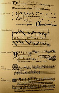 The evolution of notation in Western music.  #music @Hank Gray