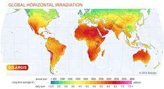 خريطة الاشعاع الشمسي في العالم