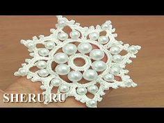 ▶ Вязание крючком снежинки Урок 19 Снежинка с бусинками - YouTube