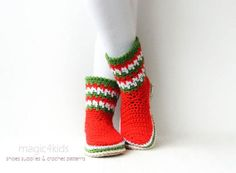 Women XMAS boots,crochet slippers,home shoes   Craftsy