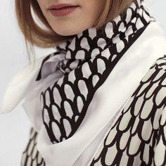 Nama silk shirt in Pikku Suomu by Annika Rimala with matching scarf // // coming soon. by marimekkodesignhouse Marimekko, Alexander Mcqueen Scarf, Instagram Posts, Shirts, Repeat, Poetry, Inspiration, Fashion, Biblical Inspiration