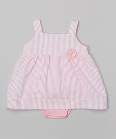 Look at this Isaac Mizrahi Pink & White Floral Seersucker Skirted Bodysuit on #zulily today!