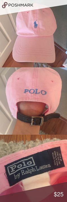 Ralph Lauren polo hat Light pink/blue Ralph Lauren polo hat with leather strap! In good condition, only worn a few times. Polo by Ralph Lauren Accessories Hats